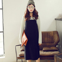 Patch Pocket Solid Color Overalls Dress
