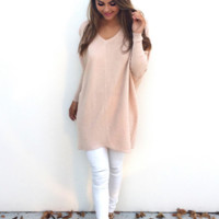 Loose V Neck Long Sleeve Knitted Sweater + Nice Free Necklace Gift
