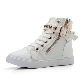 Women casual canvas shoes zipper buckle rivet women boots platform wedges shoes lace anti-slip ankle boots shoes woman 8A28