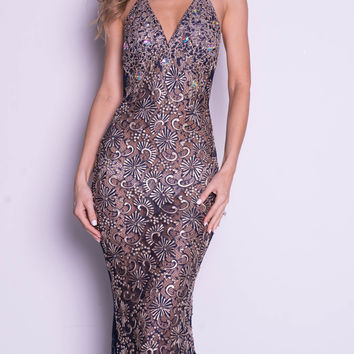 LIVINE GOWN IN NAVY WITH GOLD