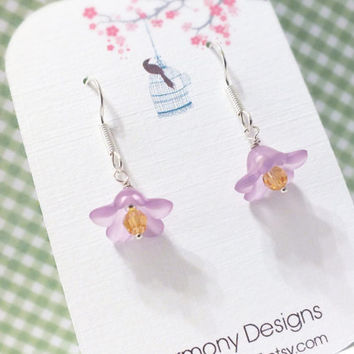 SALE Purple Lucite Flower & Swarovski Crystal Earrings