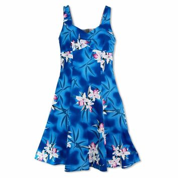 Poipu Blue Molokini Hawaiian Dress