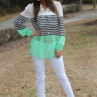 Middle Lines Blouse, Mint