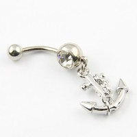316L Surgical Steel 14 Guage Anchor Nautical Indie Navel Button Ring Belly Bar Ball Body Jewelry