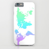Ocean Gradient World Map iPhone & iPod Case by Hannah