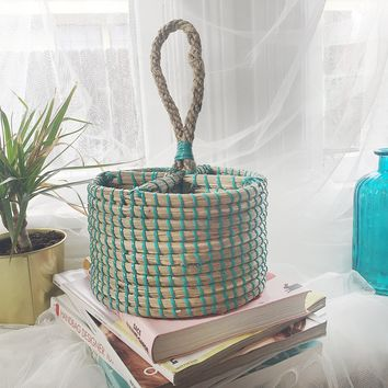 Classic Style Coral Blue Basket Handbag