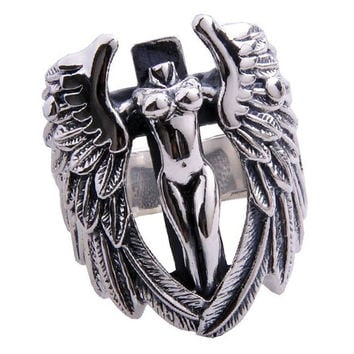 Men's Guardian Angel Ring .925 Silver High Quality Material Fine Jewelry-Size 8