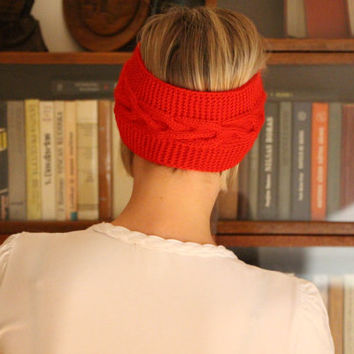 Winter headband Red Knit and Crochet turban Headband Earwarmer Knitting turban Red Knit headband