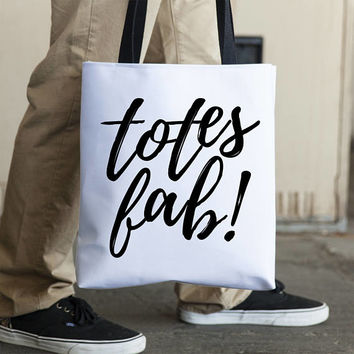 Totes Fab Tote Bag Black White Tote Book Bag Grocery Tote Shopping Bag Shopping Tote Typography Totebag