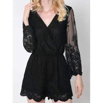 Trendy Flare Sleeve Laciness Wrap Romper For Women - Black S