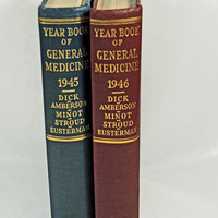 "Antique Medical Books Two Editions ""Year Book of General Medicine"" 1945, 1946"