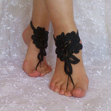 Black barefoot sandals shoe burlesque steampunk elegant beaded