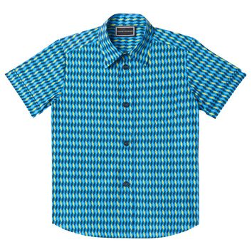 Versace Boys Blue Geometric Short-Sleeved Shirt
