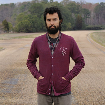Custom monogram cardigan - MENS/UNISEX - XS-L - personalized gift - hand-printed initial on jersey blend sweaters in heather cranberry