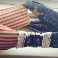American Flag red white Red Stripes and white n Blue stars  twist headband