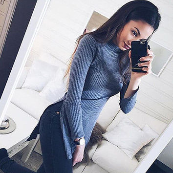 fall autumn Winter knitted bodycon dress Women long sleeve autumn sexy dress 2016 party short gray dresses vestidos