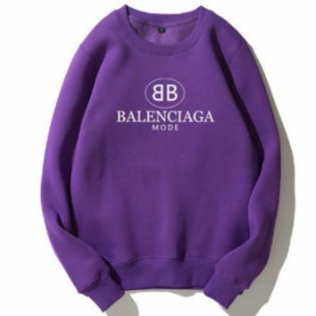 Balenciaga Tide brand autumn and winter plus velvet classic double B letter print collar round neck sweater Purple