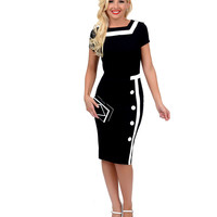 1960s Mod Style Black & White Trim Short Sleeve Fitted Wiggle Dress