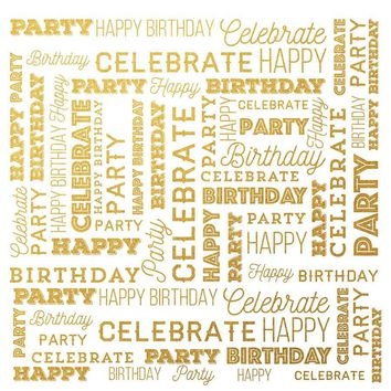 Celebrate Happy Birthday Party Backdrop Gold and White Background - LCPCSL331 - LAST CALL