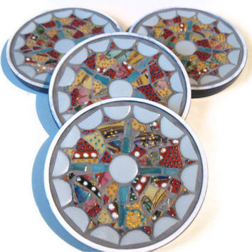 Coaster Set Mosaic Mother's Day Colorful Kitchen Home Decoration Broken China Grey Turquoise Red