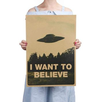 Retro Classic Movie Poster [I Want To Believe] Home Decor  Kraft Paper Painting Wall Size: 51.5 * 36cm)