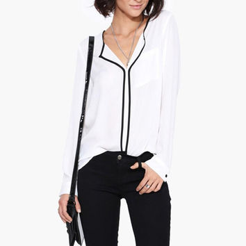 New Summer Style Fashion Womens Casual White Shirt  Long Sleeve Black Side Chiffon Blouse V-neck Work Shirts Women