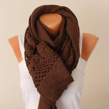 EXPRESS SHIPPING! Long Scarf, Spring Outfit, Blanket scarf, Brown  Scarf, Unique, Shawl, Neck Warmer, Cotton and Acrylic Knitting Fabric