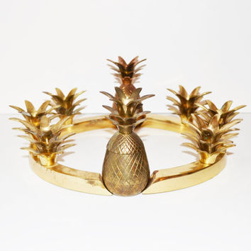 Vintage Brass Pineapple Candle Holders Table Centerpiece Hollywood Regency Brass Pineapple Box Centerpiece Set Palm Beach Decor Ananas Pina