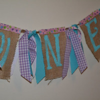 One Burlap banner photo prop aqua purple and aqua photo prop or high chair banner ready to ship ONE
