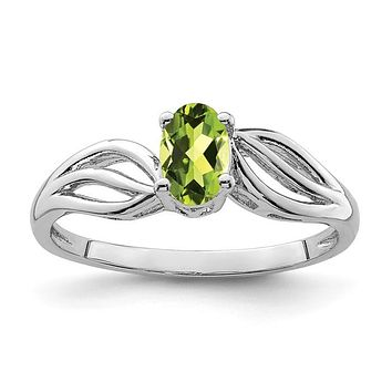 Sterling Silver Oval Peridot August Birthstone Ring