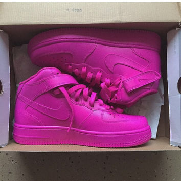 Pink Candy Mid Nike Air Force 1 (Authentic Nike Custom Pink Hand Painted Air Force Ones)
