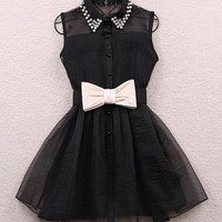 Pearl Embellished Collar Ribbon Organza Dress