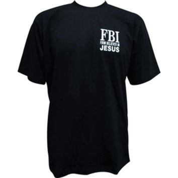 FBI (Firm Believer In Jesus) Medium Black Short Sleeve T-Shirt (Unisex)