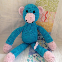 Hand knitted toy monkey knit soft toy blue knit monkey