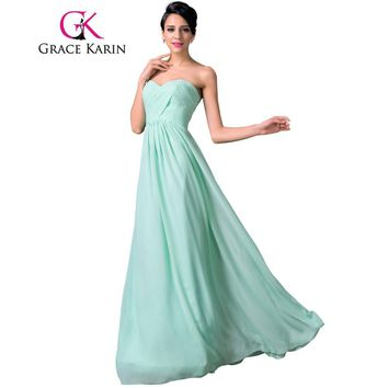 Grace Karin Charming Pale Turquoise Sweetheart Ruched Chiffon Bridesmaid Dresses Floor Length Long Party Gown CL6214 Clearance