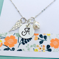 Angel Wing Necklace, Wing Necklace, Sterling Silver Wing Necklace, Memorial Gift , Miscarriage, Personalized Wing Necklace, Remembrance