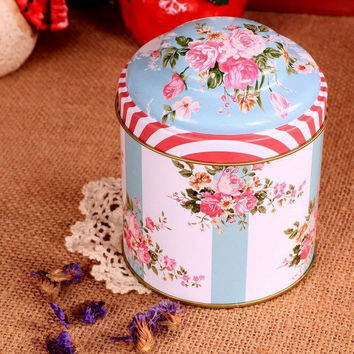Retro Blue White Rose Flower Kitchen Coffee Tea Sugar Container Jar Tin Metal