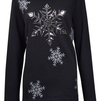 Karen Scott Women's Glittered Sequin Snowflake Sweater