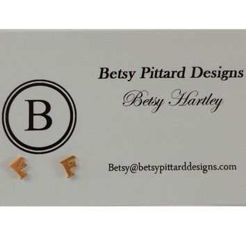 Betsy Pittard Designs: Initial Studs Letter: 'F'