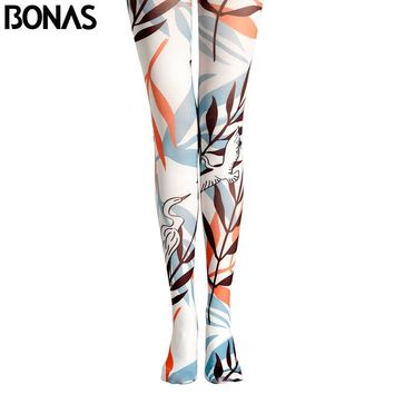 BONAS White Leaves Pantyhose Pattern Tights Legins