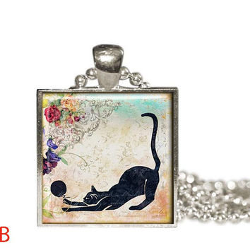 Black Cat  Pendant Necklace,  Cat Jewelry Gift Idea, GIFT for CAT Lover