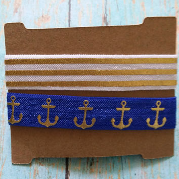 Nautical Hair Ties / Yoga Hair Ties / Workout Accessories / Bachelorette Party Gifts / Girl's Party Favors / Gym Apparel / Tie Dye Hair Ties