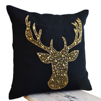 Deer Pillows - Animal pillow with stag embroidered in gold sequin -Burlap pillows -Gold Moose pillow - Gold pillows- Christmas pillows 16x16