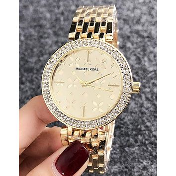 MK Stylish Women Delicate Diamond Business Movement Watch Wristwatch Golden
