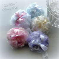 Powder Puff - La Petite Powderpuffs - pick a color - miniature poufs - gift boxed - pink cream blue lilac