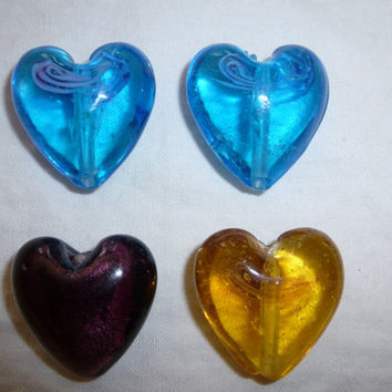 Large Puffed Glass Hearts. Beading Supplies. Jewelry Supplies. Craft Supplies on Sale. Gold. Yellow. Amber. Blue. Purple. Turquoise. Sale