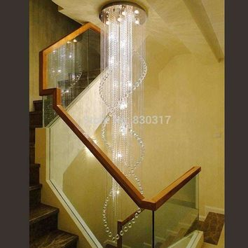 led chandelier light  G10 Bulb 95-245v waterproof driver laser stainless steel base K9 crystal Ribbon Spiral staircase design