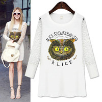 Alice In Wonderland Print Lace Long-Sleeve Shirt