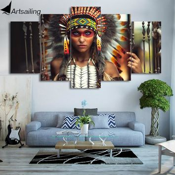 HD printed 5 piece canvas art Native American Indian girl feather painting wall pictures modern free shipping/ny-6070A