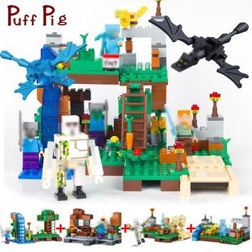378pcs 4 in 1 MY WORLD Minecrafted City Dragon Figures Building Blocks Bricks Set Compatible Legoed Classic Toys For Children